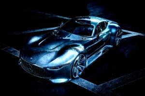Spor Araba Gece mavisi Işığında Araçlar Kanvas Tablo