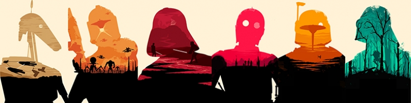 Star Wars Panaromik Karakterler Star Wars Kanvas Tablo