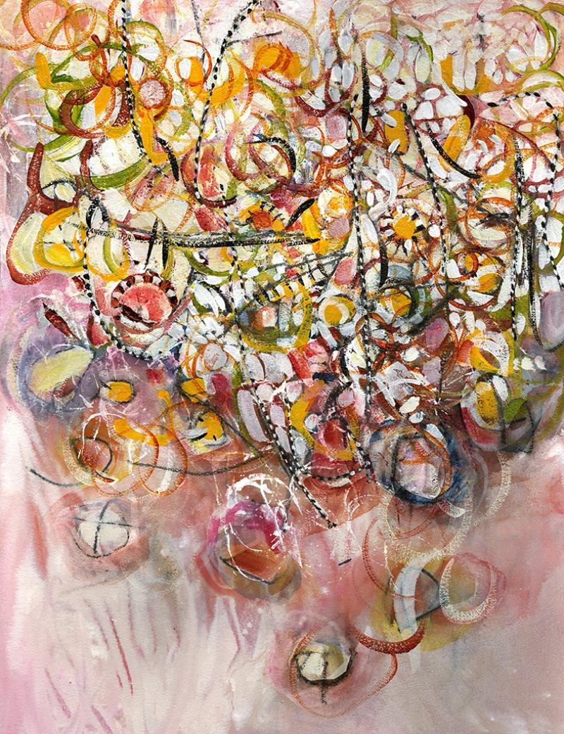 Stilize Çiçekler Yağlı Boya Sanat Kanvas Tablo