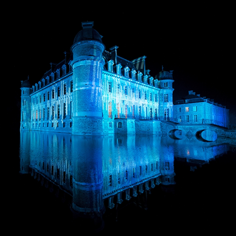 Su Efekt Mavi Şato Bina Fantastik Işıklı Kanvas Tablo
