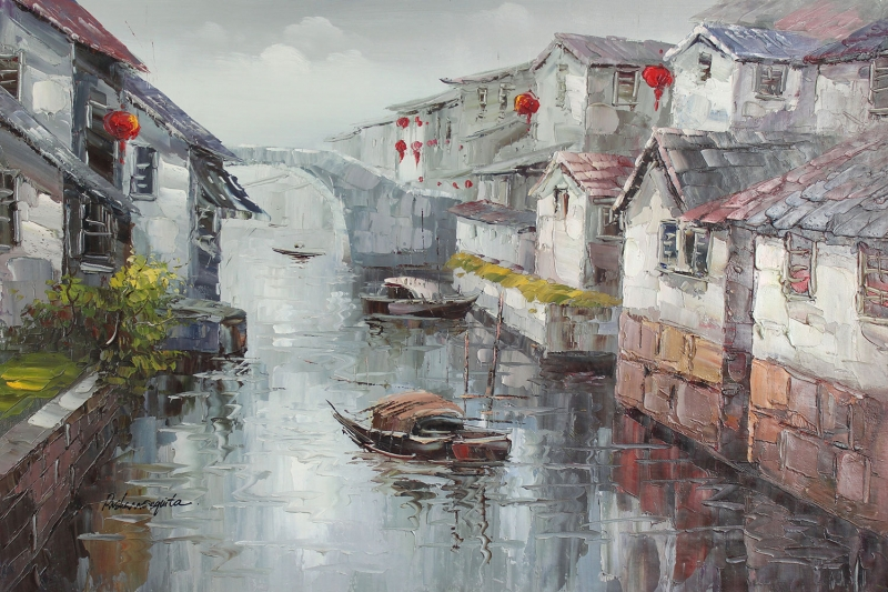 Su Kanalı, Çin'de Deniz ve Şehir Manzaraları Kanvas Tablo