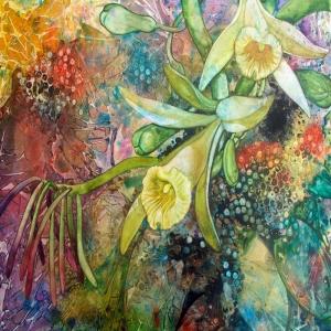 Su Renkleri Çiçekler Dekoratif Kanvas Tablo
