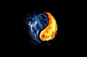 Su ve Ateş-2, Ying ve Yang, İyilik Ve Kötülük Dijital Fantastik Canvas Tablo