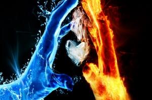 Su ve Ateş-3, Ying ve Yang, Aşkın Aurası Dijital Fantastik Canvas Tablo