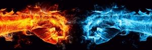 Su ve Ateş, Güç Çekişme Dijital Fantastik Canvas Tablo