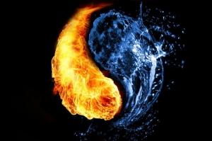 Su ve Ateş-1, Ying ve Yang, İyilik Ve Kötülük Dijital Fantastik Canvas Tablo