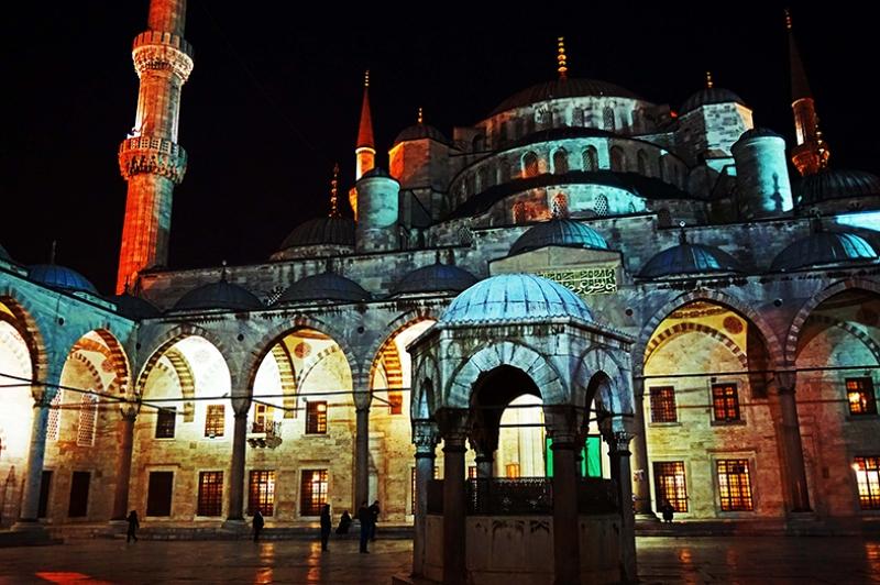 Sultan Ahmet Camii Gece Dini & İnanç Kanvas Tablo
