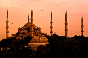 Sultan Ahmet Camii Gün Batımı Dini & İnanç Kanvas Tablo