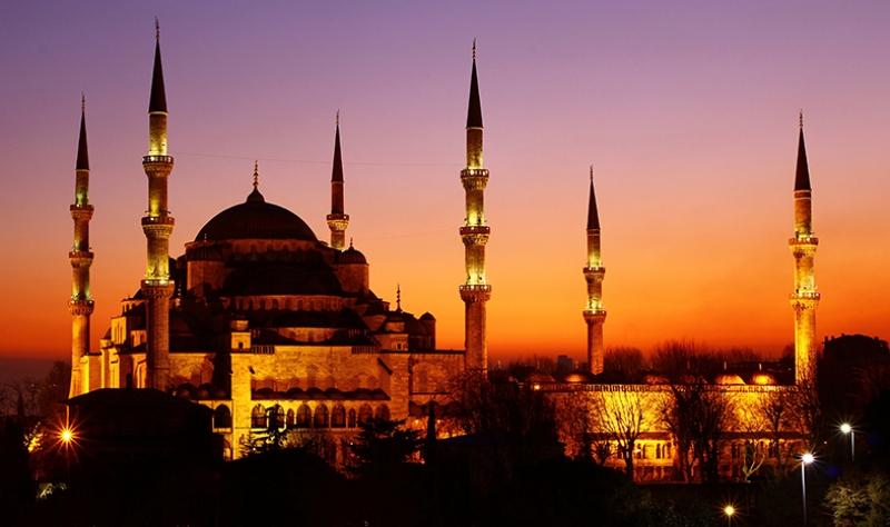 Sultan Ahmet Camii İstanbul Gece Dünyaca Ünlü Şehirler Kanvas Tablo