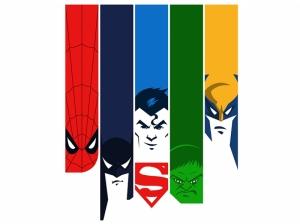 Süper Kahramanlar Suratları Kanvas Tablo
