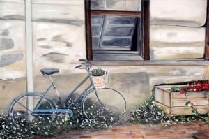 Sweet Home Bisiklet Tas Ev Yagli Boya Sanat Dekoratif Kanvas Tablo