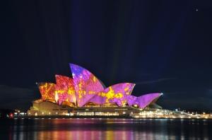 Sydney Opera Binası Gece Şehir Manzarası Dünyaca Ünlü Şehirler Kanvas Tablo