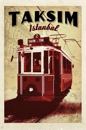 Taksim\'de Tramvay Şehirler Kanvas Tablo