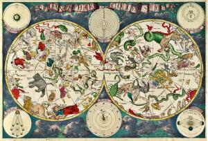 Tarihi Yıldız Haritası Astroloji & Burçlar Kanvas Tablo 2