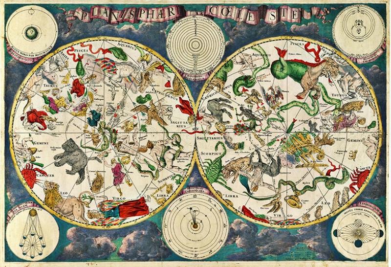 Tarihi Yıldız Haritası Astroloji & Burçlar Kanvas Tablo
