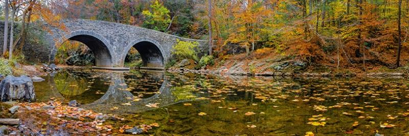Taş Köprü ve Sonbahar Panaroma Panaromik Manzara Kanvas Tablo