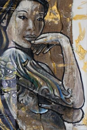 Taylandlı Kadın Abstract Sanat Kanvas Tablo