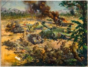 Terence Cuneo Savas Sahnesi 3 Ortadogu Yağlı Boya Klasik Sanat Canvas Tablo