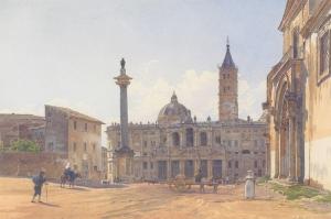 The Basilica of Santa Maria Maggiore in Rome-1837, Roma'daki Kutsal Meryem Bazilikası, Rudolf Von Alt Kanvas Tablo