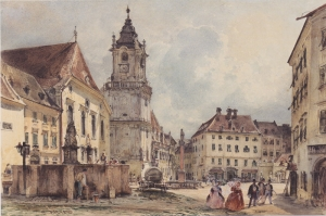 The Main Square in Bratislava-1843, Ana Meydan-1843, Rudolf Von Alt, Baş Yapıt Kanvas Tablo