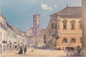 The Parish Church in Ofen-1845, Ofen'daki Klise, Rudolf Van Alt, Baş Yapıt, Klasik Sanat Kanvas Tablo