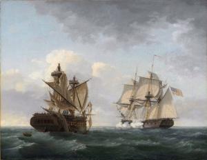 Thomas Birch Amerikan Vemakedon Gemilerinin Karşılaşması Klasik Sanat Kanvas Tablo