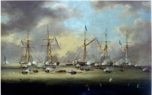 Thomas L Hornbrook Borgne Gölü Savaşı Yağlı Boya Klasik Sanat Kanvas Tablo