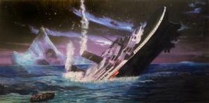 Titanik Buz Dağı Batan Gemi Modern Sanat kanvas Tablo