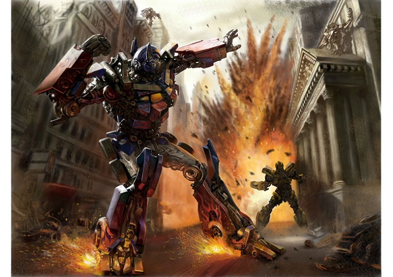 Transformers Optimus Prime ve Bumbleblee Süper Kahramanlar Kanvas Tablo
