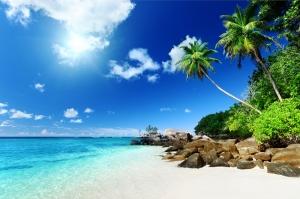Tropikal Ada Doğa Manzaraları Kanvas Tablo