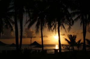 Tropikal Adada Gün Batımı Doğa Manzaraları Kanvas Tablo