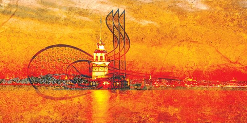 Tuğra ve Kız Kulesi Osmanlı ve İslami Exclusive Kanvas Tablo