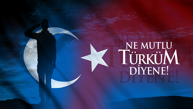 Türk Askeri, Ne Mutlu Türküm Diyene,-Türk Bayrağı Kanvas Tablo