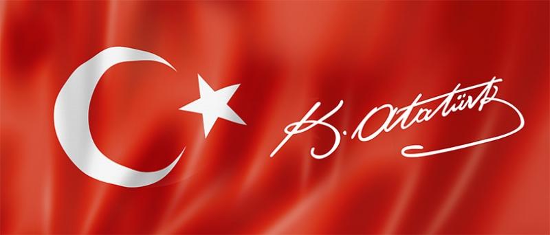 Türk Bayrağı Mustafa Kemal Atatürk İmza Kanvas Tablo