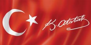 Türk Bayrağı ve K. Atatürk İmzası Atatürk Unique Kanvas Tablo