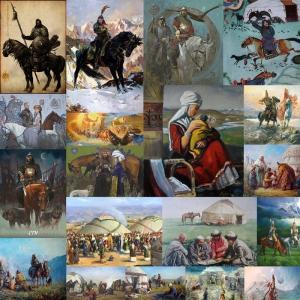 Turk Dünyası-3, Orta Asya Sosyal Yaşam Turani Kanvas Tablo