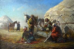 Türk Dünyası, Türk Ozan-2  Orta Asya Türk Sosyal Yaşam Kanvas Tablo