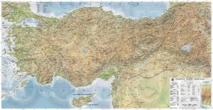 Türkiye Fiziki Haritası Kanvas Tablo