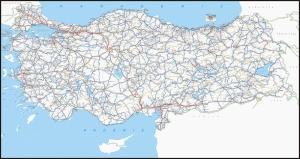 Türkiye Karayolları Haritası-2 Kanvas Tablo