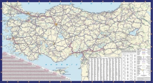Türkiye Karayolları Haritası Kanvas Tablo