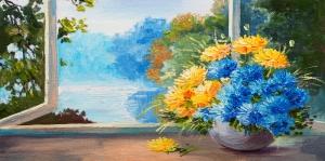 Turkuaz Çiçekler, Doğa Çiçek Temalı Kanvas Tablo