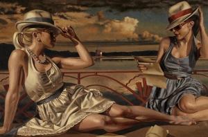 Two Beautiful Ladies At Seaside Sanat Kanvas Tablo