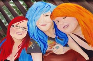 Üç Arkadaş renkli Saçlar  Yağlı Boya Dekoratif Modern Kanvas Tablo