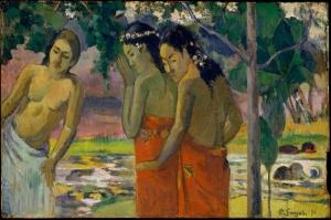 Üç Tahitili Kadın Paul Gauguin Reproduksiyon Kanvas Tablo