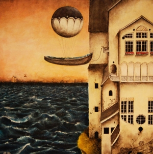 Uçan Kayik Surrealizim Dekoratif Kanvas Tablo