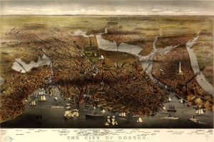 USA, Amerika, Boston Şehir Haritası, Eski Çizim Harita, Coğrafya Kanvas Tablo
