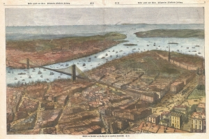 Usa Amerika Newyork Manhattan Brooklyn Koprusu Sehri 3 Eski Cizim Harita Cografya Kanvas Tablo
