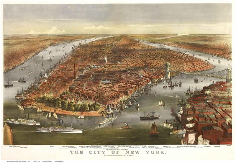 Usa Amerika Newyork Manhattan Brooklyn Sehir Haritasi 3 Eski Cizim Harita Cografya Kanvas Tablo