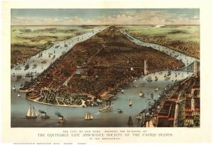 Usa Amerika Newyork Manhattan Brooklyn Sehir Haritasi 5 Eski Cizim Harita Cografya Kanvas Tablo