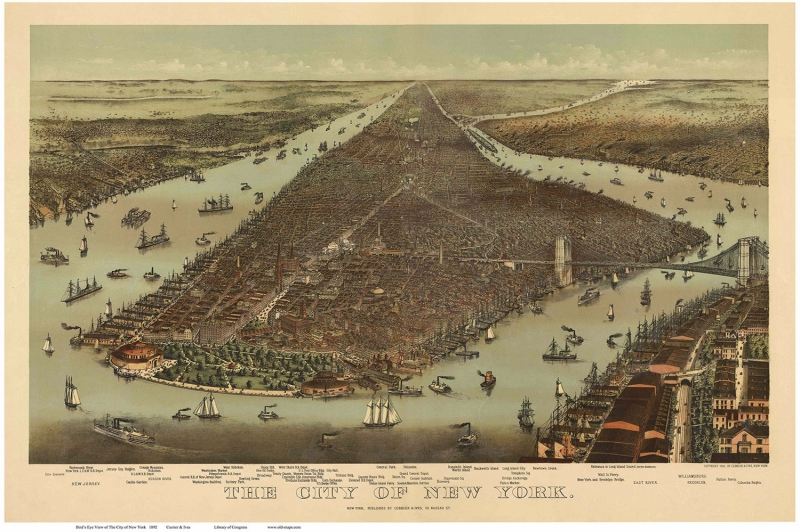 Usa Amerika Newyork Manhattan Sehri 2 Eski Cizim Harita Cografya Kanvas Tablo